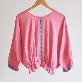 Blusas tipo Globo con bordado de Hilvan