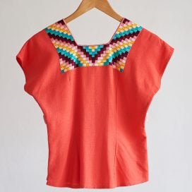 Blusa tradicional Ch'ol en tela de Lino