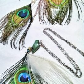 Peacock feather earrings and necklace
