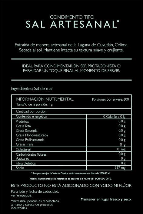 Sal Artesanal de la Laguna de Cuyutlán Colima 600g