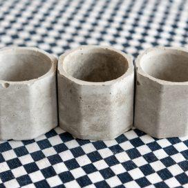 Kit x 3 Macetas de Concreto Hoja Suelta
