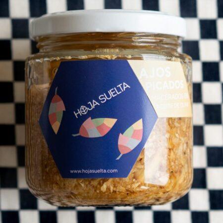 Ajos picados y macerados en aceite de oliva ~tarro mediano