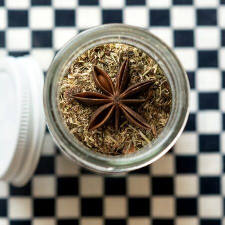 Té de manzanilla con anís estrella con bolsita de té de tela reutilizable ~tarro chico