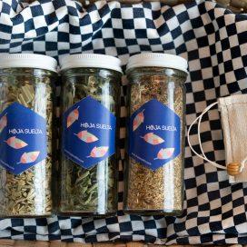 Selección de té: Limón, Cedrón, y Manzanilla con bolsita de té de tela