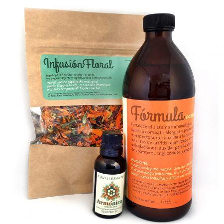#Kit de regalo: infusión floral, fórmula fortalecedora (500 ml) y una tintura medicinal de 30 ml. Armónica herbolaria.