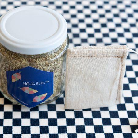 Té de manzanilla con bolsita de té de tela reutilizable ~tarro mediano