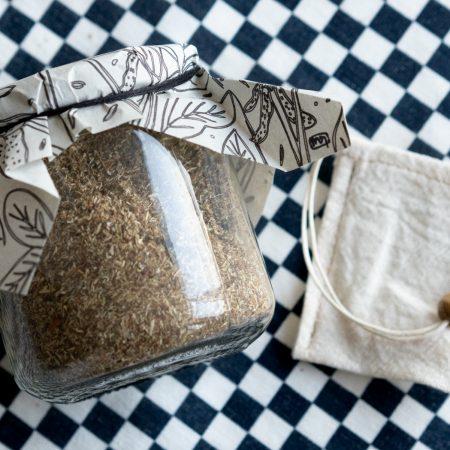 Té de manzanilla con anís estrella con bolsita de té de tela reutilizable ~tarro mediano