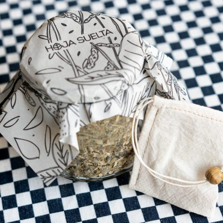 Té de yerba mate con bolsita de té de tela reutilizable ~tarro mediano